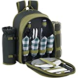 VonShef 4 Person Deluxe Picnic Backpack Hamper with Cooler Compartment includes Tableware & Fleece Blanket - Free 2 Year Warranty