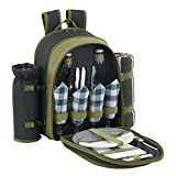 VonShef 4 Person Deluxe Picnic Backpack Hamper with Cooler Compartment includes Tableware & Fleece Blanket