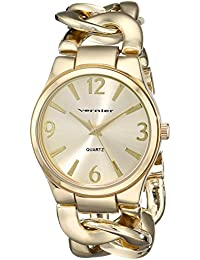 Vernier Women's VNR11081YG Gold-Tone Metal Interlocking Chain Bracelet Watch