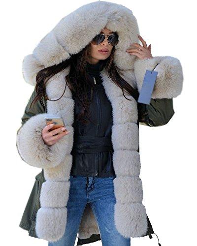 Roiii® Frauen-Damen-Winter-Lange warme Starke Parka mit Kunstpelzjacke mit Kapuze Mantel 44-54 (42/44, Milch Amry)