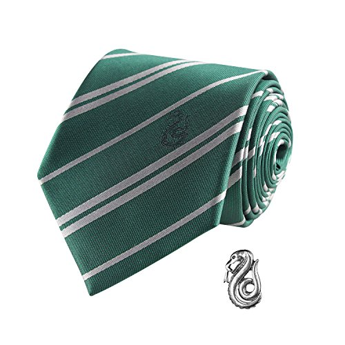 Cinereplicas - Harry Potter - Krawatte mit Anstecknadel - Deluxe Edition- Offiziel lizensiert - Slytherin - Einheitsgröße - 100 % Mikrofaser - Geliefert in Einer Geschenkbox - Grün und Grau