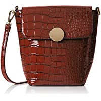 SwankySwansTrudi Gold Patent Leather Shoulder Bag Dark Brown - Borsa a tracolla donna
