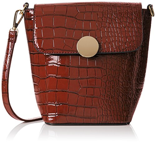 SwankySwansTrudi Gold Patent Leather Shoulder Bag Dark Brown - Borsa a tracolla donna Brown (Brown)