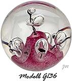 Bola de ensueño de Pisapapeles grande: Diseño Blanco–Morado Escultura con grandes burbujas–Mano