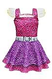 MingoTor Überraschungspuppe Kleid Knielang Mädchen Cosplay Kostüm Karneval Party Verkleidung Rosa-Lila 120