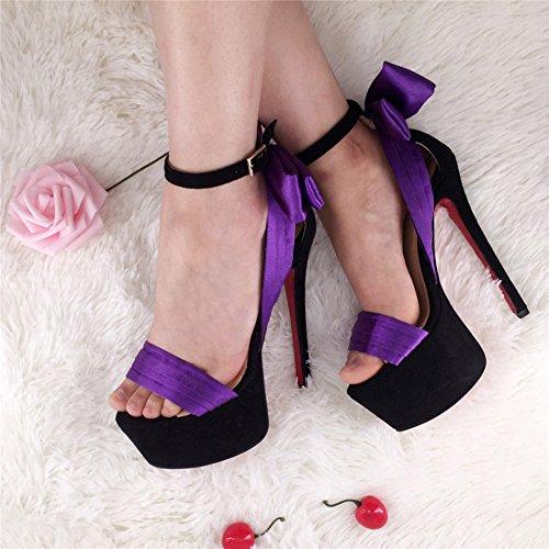 Kolnoo Femmes Peep Toe Sangle de cheville Stiletto Shoes Chaussure à talons hauts Sandales à la mode purple