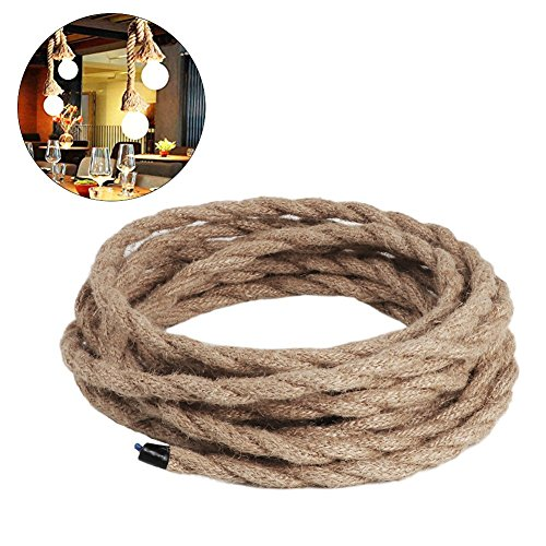 Rund Elektrische Seil Licht, Kordel, 5m 3Kerne Antik Vintage Seil Draht für Heimwerker Industrie Hängelampe (2Kerne)