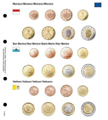 Euro-Vordruckblatt Monaco/San Marino/Vatikan [Lindner 1108-13] Euro-Vordruckblatt und ein Euro-Münzenblatt K8