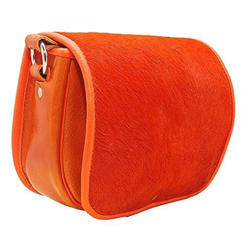 Koson Leather Leder-orange Pelz-handgemachter Schultaschen-Schulter-Handtaschen-Kurier-Beutel