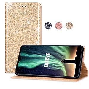 EATCYE Hülle für Huawei Mate 20, Bling Glitter Sparkle Case Leichtgewicht Handyhülle mit Kartensteckplätzen Magnetverschluss Hülle für Huawei Mate 20 (Gold)