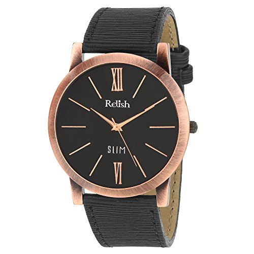 RELISH RE-C8036CB Copper Case Black Dial Analog Watch For Mens & Boys