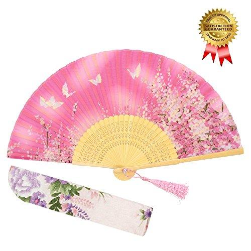"""With a Fabric SleeveOMyTea """"Sakura"""" japanischer bzw. Chinesischer Handfächer mit Seide und Bambusrahmen und einer Stoffhülle zum Schutz des Fächer selbst, Textil, WZS-3 (Japanischer Fan Seide)"""