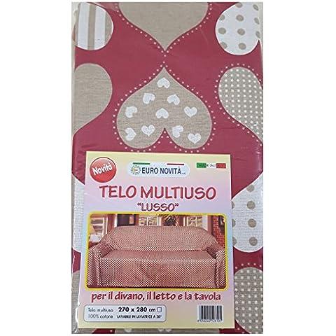 Manta para sofá Manta decoración Protector para superficies con forma de corazón, color rojo, negro, 280 x 170 cm en algodón 100% granfoulard MADE IN ITALY producción propia