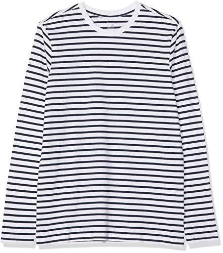 MERAKI Camiseta de Rayas de Manga Larga Entallada Hombre, Blanco (Stripe 1 Navy / White), X-Large