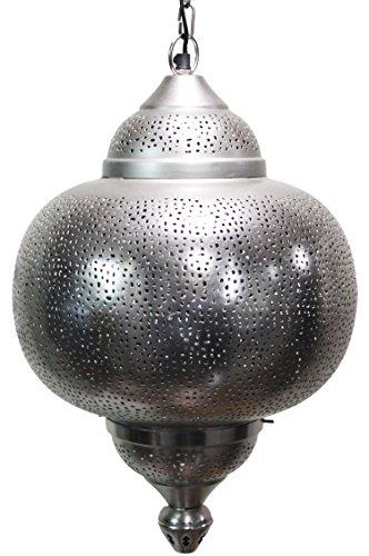 Orientalische Lampe Pendelleuchte Silber Damaris 50cm E27 Lampenfassung | Marokkanische Design Hängeleuchte Leuchte aus Indien | Orient Lampen für Wohnzimmer, Küche oder Hängend über den Esstisch -