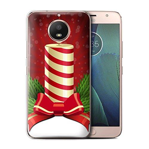 Stuff4® Custodia/Cover/Caso/Cassa Rigide/Prottetiva Stampata con Il Disegno Decorazioni di Natale per Motorola Moto G5S - Candela/Avvento