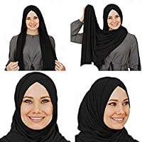 ‏‪Cotton head scarf, instant black hijab, ready to wear muslim accessories for women أسود قياس واحد‬‏