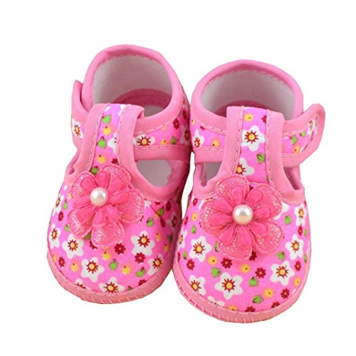 Hmeng Quietschende Schuhe für Kleinkinder w/justierbarer Quietscher, ❤️Kleinkind-neue Blumen-Mädchen-Sandelholze beleuchtete weich-gesäumte Prinzessin Baby Shoes (Rosa, ()