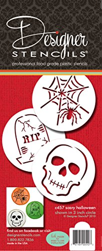 Designer Schablonen C457 Scary Halloween Cookie Schablone Set, (Spider Web, Totenkopf, Grabstein), beige/halbtransparent