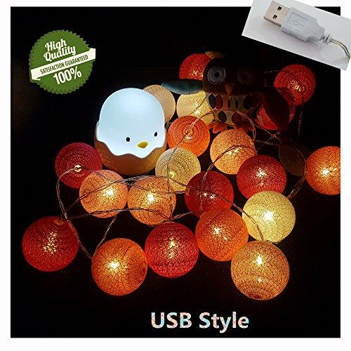 tte mit Baumwollkugeln, 6cm Kugeln Mit 20 Bällen 4M USB Deko Licht Festlich Hochzeiten Geburtstag Party Cotton Ball Themen Weihnachten Lichterkette Dekorative (Rote Linie) ()