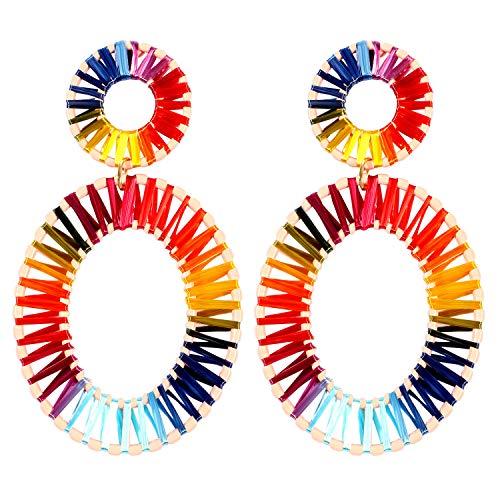 Bascolor Ohrringe Damen Hängende Ohrringe Mädchen Bast Raffia Boho Statement Ohrringe Bunt Geometrische Ovale Herz Baumelnde Ohrringe für Frauen Schmuck (Farbe E)