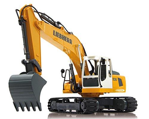 Preisvergleich Produktbild Jamara 405060 - Bagger Liebherr R936 1:20 2,4G - realistische Funktionen (entladen/ aufladen), jedes Gelenk einzeln steuerbar, 660 ° Turmdrehung, Metallschaufel, Motorsound, Hupe, Rückfahrwarnsound