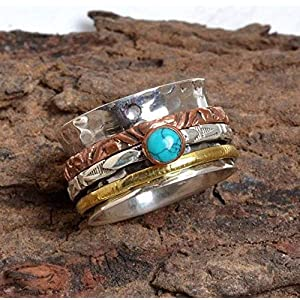 Meditationsringe, Spinnerringe, Silberringe für Frauen, Beautiful Designer Spinning Ring for Women, Spinner Band Rings, Anxiety Ring for Meditaion, 925 Sterling Silver Band