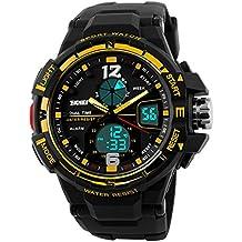 Skmei hombre Dual time Zone LED reloj deportivo, 96m resistente al agua–oro