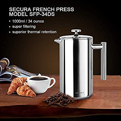 Secura Stainless Steel French Press Coffee Maker from Secura