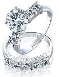 Bling Jewelry Plata Esterlina CZ Compromiso y Boda Ronda Conjunto de Anillo