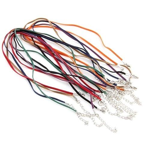Ecloud Shop 14X Colliers Tour de Cou Cordon Corde 3mm Multicolores
