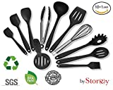 Silicone Kitchen Utensils 10+1 pcs Set with Nylon Potato Masher - Non Stick, Heat Resistant, Cooking Tools & Accessories. Includes Masher, Spatulas, Tong, Noodle Spoon, Soup Spoon, Slotted Spoon, Brush, Turner, Whisk.