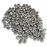 300 Alphabet Buchstaben Perlen von Kurtzy - 6 x 6mm DIY Armband, Halskettenherstellung und Kinderschmuck Kunsthandwerk - Weiße Acryl Buchstaben Perlen Beschichtet mit einer Silber Metall Oberfläche