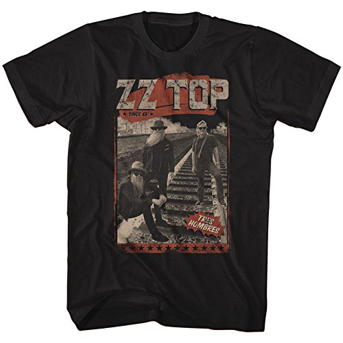 ZZ Top Rock Band Music Group Tres Hombres Train Tracks Tee