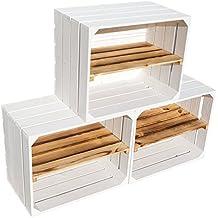 Nueva fruta Cajas blanca con geflammten Juego de 3 estantes Tabla longitudinal manzana caja Vino –