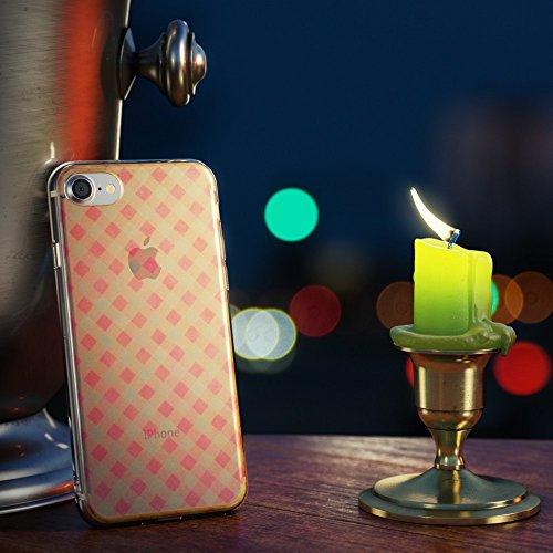 iPhone 8 / 7 Hülle Handyhülle von NICA, Slim Glitzer Silikon Motiv Case Crystal Schutz Dünn Durchsichtig, Handy-Tasche Back-Cover Transparent Bumper für Apple iPhone-7 / 8, Designs:Colored Bokeh Pink Plaid