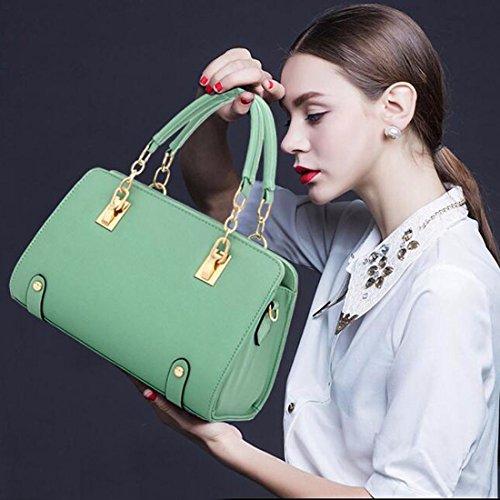 Frauen-Handtaschen-Schulter-Beutel-Taschen-Leder Quermuster Shapely Umhaengetasche gruen