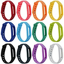 Fit-power XiaoMIBand - Pulsera de repuesto colorida para XiaoMi(no incluye monitor), Pack of 12