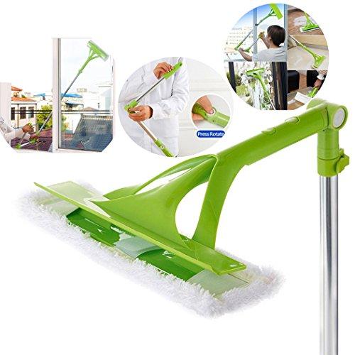 Yogogo Schwamm Mopp | Doppelseitige Reinigung | Teleskopisch | Faltbarer Griff | Reinigung von Glas | Sauberer Fenster | Erweiterbar | 88-133cm Länge | Einstellbare | AS+ ABS + Edelstahl | Staubpinsel (Grün) (Schwamm Presse Mit Mop)