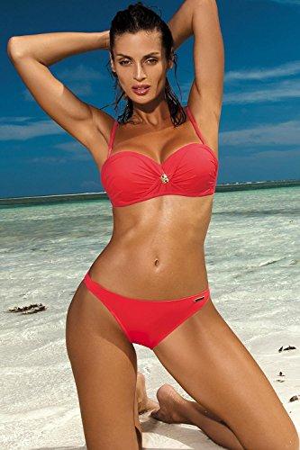 Marko Brittany M-393 Bikini Set Dame Bademode gerafft musterlos abnehmbar EU Korallenrot