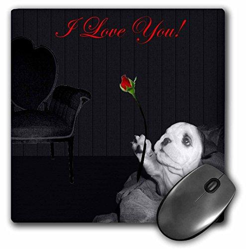 3dRose LLC mp_40653_1 Mauspad, englische Bulldogge Valentine (Bulldogge Valentine Englische)