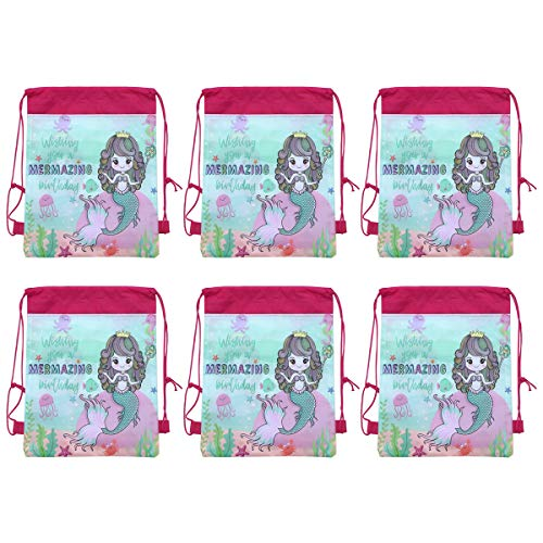 Kordelzug Cinch Tasche (Fenical Kordelzug Rucksäcke Meerjungfrau Cinch Taschen String Sack für Baby Kinder Mädchen Geschenke Einhorn Party Favors 6-TLG)