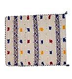 40 x 40 cm – Funda de cojín marroquí – Boho Decor – Kilim con lentejuelas – Lana de madera hecha a mano y bordado – crema blanco, rojo, amarillo y azul