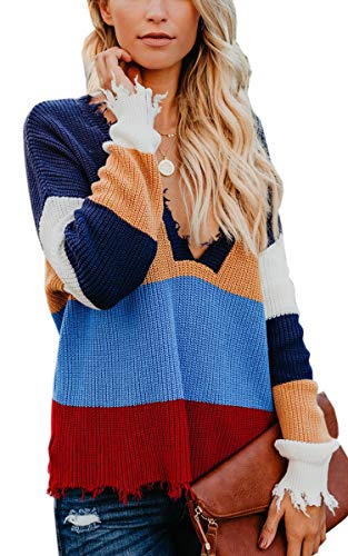 Angashion Women's V-Neck Sweater Knitted Loose Long Sleeve Pullover Blau Orange L