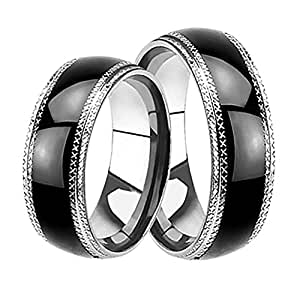 black matching his and hers wedding bands ring set for him and her men women. Black Bedroom Furniture Sets. Home Design Ideas