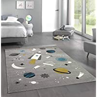 Merinos Children carpet space learning rug with spaceship stars and planets in gray