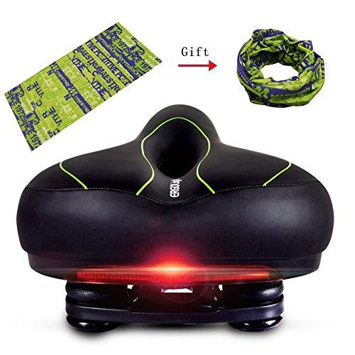Fahrradsattel mit Rücklicht für Männer Frauen, Komfortable Breite Fahrradsättel PVC Soft Bike Sattel Wasserdicht MTB Rennrad Sattel Passt die Meisten Fahrräder (Schwarz Grün)