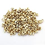Skyllc® 100 Nieten 7x4MM golden Killernieten Schraubennieten Ziernieten spitz Punk