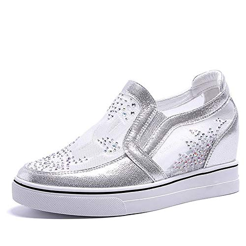 51vQPFsx7kL. SS500  - ZHZNVX Women's Shoes PU(Polyurethane) Summer Comfort Sneakers Wedge Heel Round Toe White/Silver