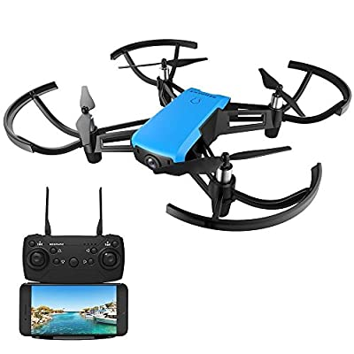 Drone With Camera,REDPAWZ R020 RC Drone Mini Quadcopter Wifi FPV Drone 2.4G Racing Drone Altitude Hold Gravity Sensor with 720P HD Wide Angle Camera RTF Headless Mode One Key Take-off Landing with 8520 Brushed Motor- Blue